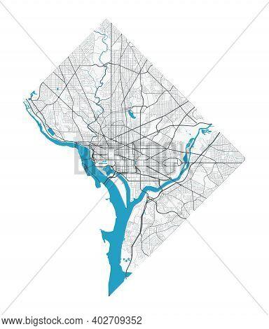 Washington Map. Detailed Map Of Washington City Administrative Area. Cityscape Panorama. Royalty Fre