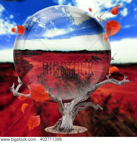 Blue Sky And Red Desert In A Sphere, Photographed At Port Edward, South Africa