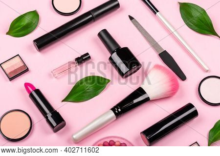 Various Cosmetic Accessories For Makeup And Manicure On A Trendy Pastel Pink Background With Fresh G