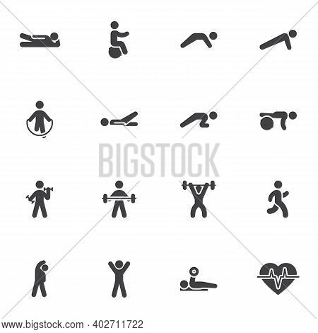Sport Exercises Vector Icons Set, Healthy Lifestyle Modern Solid Symbol Collection, Filled Style Pic
