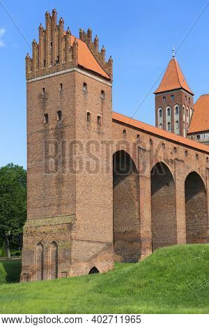 Kwidzyn, Poland - June 25, 2020: 13th Century Medieval Kwidzyn Castle, Monumental Brick Gothic Castl