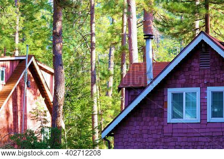 Rustic Wooden Cabins Surrounded By A Lush Green Coniferous Forest Taken In A Rural Community