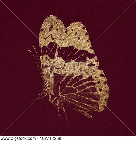 Glittery gold butterfly vintage animal illustration