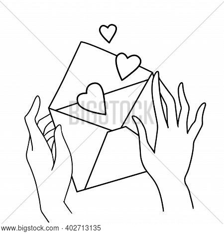 Female Hands Holding Love Letter. Valentines Day Envelope With Hearts Inside Line Art. Greeting Card