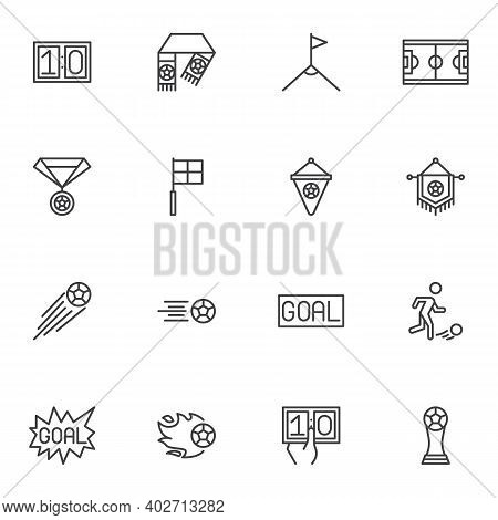 Soccer Sport Line Icons Set, Outline Vector Symbol Collection, Linear Style Pictogram Pack. Signs, L