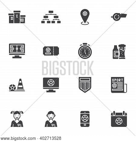 Football, Soccer Vector Icons Set, Modern Solid Symbol Collection, Filled Style Pictogram Pack. Sign