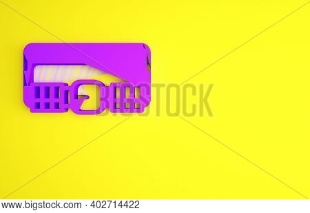 Purple Hunting Cartridge Belt With Cartridges Icon Isolated On Yellow Background. Bandolier Sign. Hu