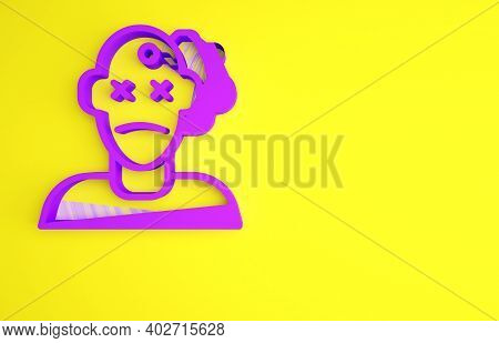 Purple Murder Icon Isolated On Yellow Background. Body, Bleeding, Corpse, Bleeding Icon. Concept Of