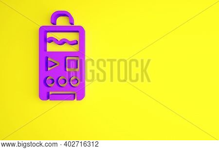 Purple Dictaphone Icon Isolated On Yellow Background. Voice Recorder. Minimalism Concept. 3d Illustr