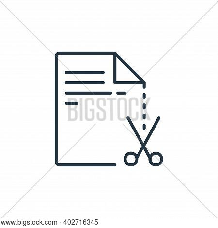 cut icon isolated on white background. cut icon thin line outline linear cut symbol for logo, web, a