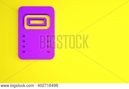 Purple Police Assault Shield Icon Isolated On Yellow Background. Minimalism Concept. 3d Illustration