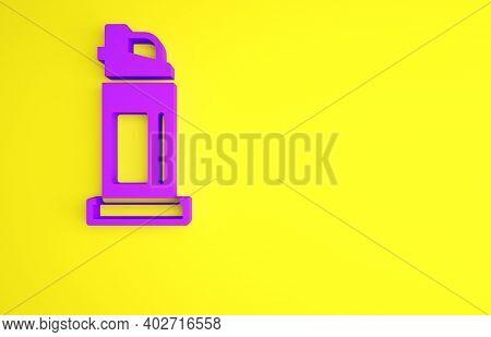 Purple Pepper Spray Icon Isolated On Yellow Background. Oc Gas. Capsicum Self Defense Aerosol. Minim