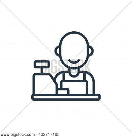 cashier icon isolated on white background. cashier icon thin line outline linear cashier symbol for