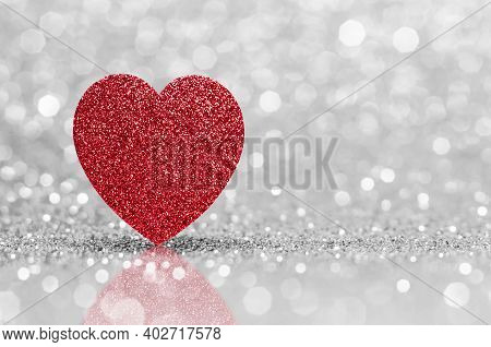 Valentines Day Red Red Heart With Pink Bokeh Light Background.pink Rose Sparkling Glittering Light C