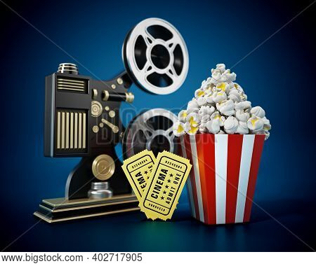 Vintage Movie Projector, Popcorn, Cinema Tickets. 3d Illustration.