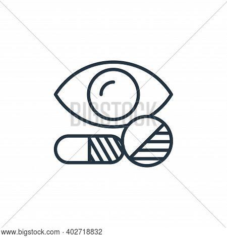 eye pills icon isolated on white background. eye pills icon thin line outline linear eye pills symbo
