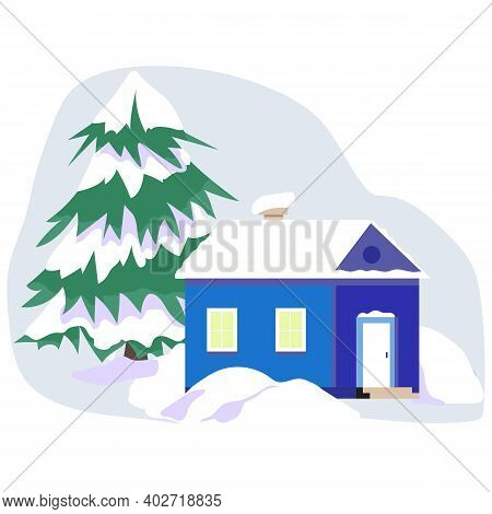 Winter Landscape With A Small House In A Flat Minimalist Style. A House, Snowdrifts And A Big Fluffy