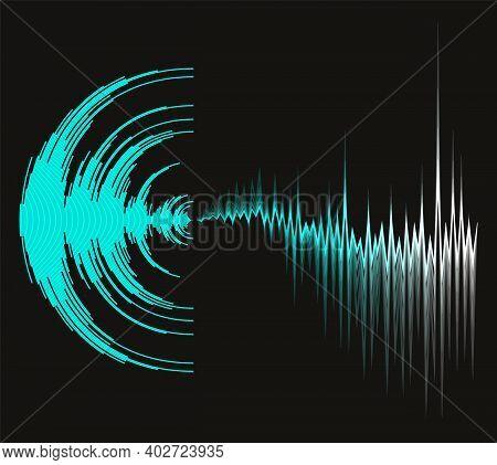 Digital Music Background With Dynamic Waves. Poster Neon Sound Wave Design. Jpeg Waveform Technology