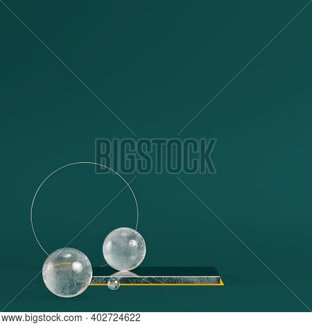 Yellow Pedestal With Circle Frame And Spheres On Dark Green Background. Minimalism Concept. 3d Rende