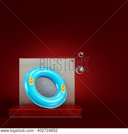 Blue Swim Ring With Abstract Geometric Figures On Dark Red Background. Minimalism Concept. 3d Render
