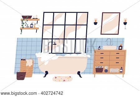 Modern Scandinavian Bathroom Interior Furnished With Bathtub And Washstand. Foamy Bath Tub In Cosy R