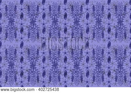 Seamless Pano Pattern With Floral Elements And Vintage. Raster Illustration.