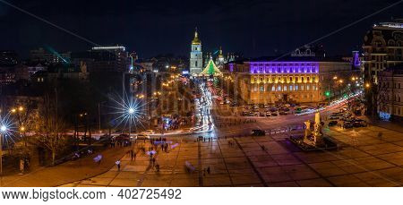 Amazing Panoramic View From The Bell Tower Of St. Michaels Golden-domed Monastery At Night Light - K