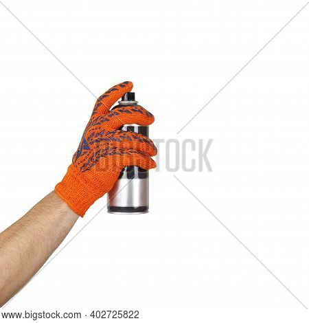 Objects Tool Hands Action - Aerosol Spray Paint In The Hand Of The Worker In Glove Isolated White Ba