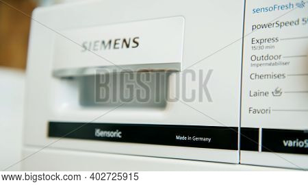 Paris, France - Jan 5, 2020: Focus On The Made In Germany Inscription On A Siemens Washing Machine W