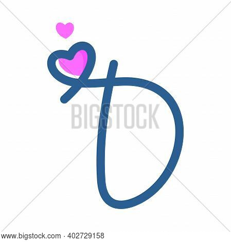 Simple And Clean Illustration Logo Initial Mono Line D With Heart.