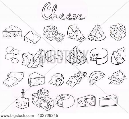 Cheese Isolated On A White Background, Hand Drawn Cheese Outline Illustration. Set Of Cheese Icons