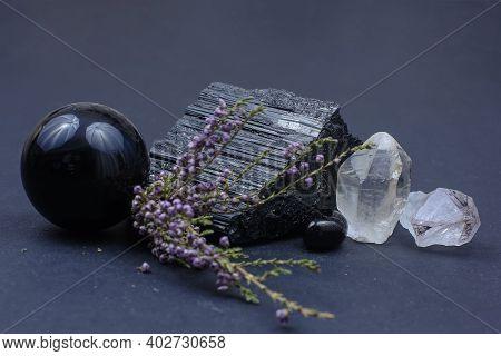 Semiprecious Stones - Black Tourmaline Amethyst, Smoky Quartz And Obsidian With Heather Branch