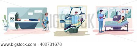 Set Of Doctors Examines Patient In Medical Clinic.  People At Mri Scan, Examination By Dentist And P