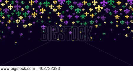Seamless Pattern Beautiful Yellow, Green, Purple Fleur-de-lis Lily Symbol On Black Background. Venet