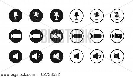 Icon Of Microphone, Sound And Camera. Button For Mute, Zoom And Mic. Symbols Of Interface For Video,