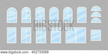 Glass Window. Icon Of Windows With Frame For House And Office. Double Window With Arch For Balcony.