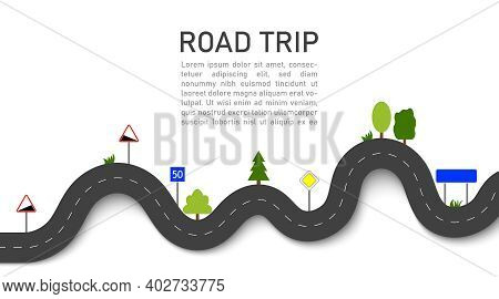 Road Trip. Icon For Map Of Journey. Highway For Travel. Path Of Taxi. Asphalt With Road Signs And Na