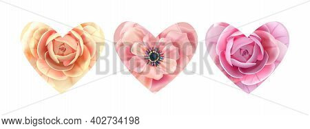 Heart Flower Blossom Love Vector Valentines Day Floral Set With Roses, Anemone Isolated On White. Ho