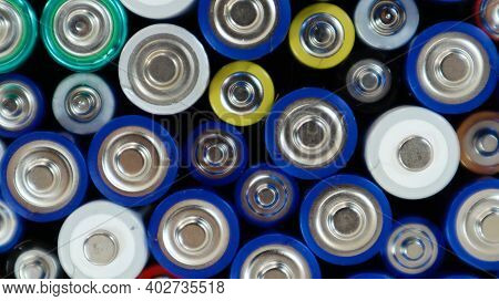 Lots Of Used Household Alkaline Batteries Type Aa, Aaa, Collected For Recycling. Recycling And Ecolo