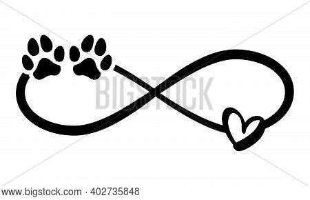 Dog Or Cat Paw Prints And Heart - In Infinity Shape - Lovely Tattoo, Ink. Lovely Heart With Paw Prin