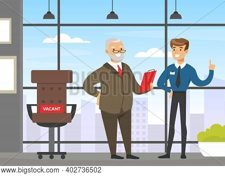 Business Executive Talking With Employee In Office Interior, Business People Characters Discussing P