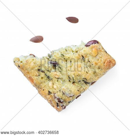 Broken Salted Cracker Isolated On White Background. Crushed Dry Cracker Cookie With Herbs, Top View