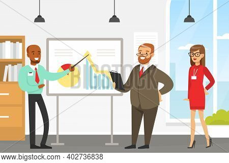 Businessman Making Presentation And Explaining Chart On Whiteboard, Business People Or Office Worker