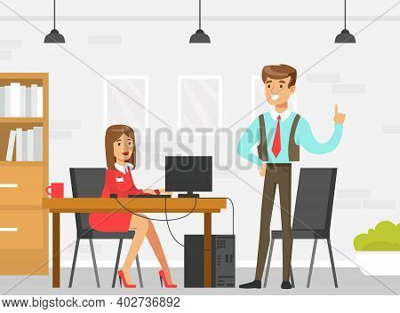Business Executive Or Boss Giving Advice To Female Employee In Office, Supervising At Work, Leadersh