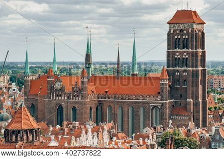 St. Mary's Cathedral in old town of Gdansk, Poland. Upper view of the Gdansk old town at summer