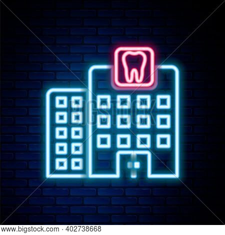 Glowing Neon Line Dental Clinic Icon Isolated On Brick Wall Background. Dentistry Center Symbol. Col