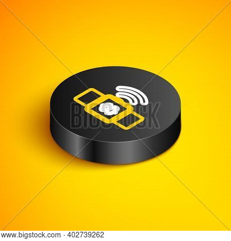 Isometric Line Contactless Payment Icon Isolated On Yellow Background. Smartwatch With Nfc Technolog