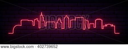 Red Neon Skyline Of Raleigh. Bright Raleigh City Long Banner. Vector Illustration.