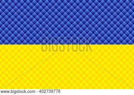 Mosaic Flag Of The Ukraine - Illustration,  Three Dimensional Flag Of Ukraine
