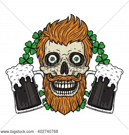 Irish Skull. The Skull Of Saint Patricks With Glass Beer And Clover Leaves.
